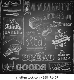 set of various bakery elements and chalk typography on a blackboard, bread, mustache, chef's hat, natural ingredients