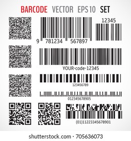 Set of various bar codes, qr codes and post codes isolated on white background. Vector illustration for your graphic design.