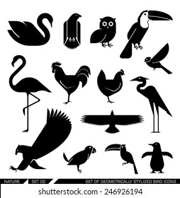 Set of various bird icons: swan, owl, eagle, rooster, flamingo, penguin, pelican, hen. Vector illustration.