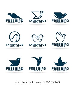 Set of various bird symbols and logo design elements (1)