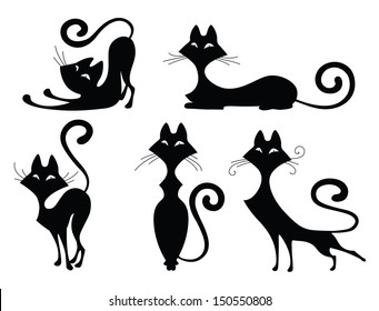 Set of various black cat silhouettes. Sitting cat, lying cat, two  stretching cats and one cat with round back. Cool for Halloween designs and tattoos