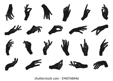 Set of various black silhouette woman hands. Vector collection of female hands of different gestures. Trendy minimal style for logos, prints, designs, illustrations.