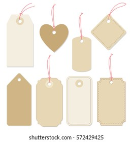Set of various blank paper tags, labels with strings.  Isolated vector elements, flat design.
