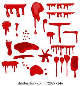 Set of various blood drops and splatters. Vector hand drawn illustration.