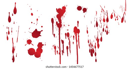 Set of various blood or paint splatters