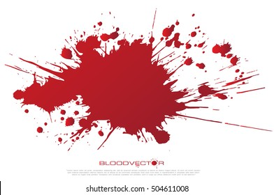 Set of various blood or paint splatters drops and trail  Isolated on white background  all elements grouped no effects, vector design element illustration