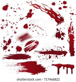 Set of various blood or paint splatters. Realistic vector illustration.