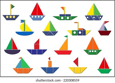 Set of various boats for children's creativity