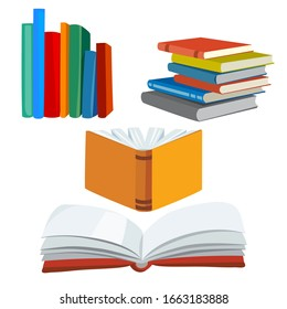 set of various books, stack of books, open book.vector illustration