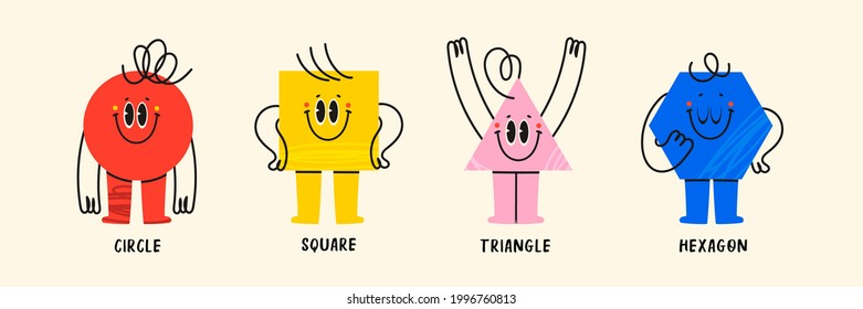 Set of Various bright basic Geometric Figures with face emotions, hands and legs. Different shapes. Hand drawn trendy Vector illustration for kids. Cute funny characters. All elements are isolated