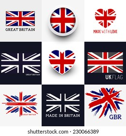 Set of various British flags and UK symbols