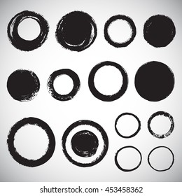 Set of various brush drawn circles. Round hand drawn frames or brush strokes with rough, uneven edges. Collection of graphic elements.