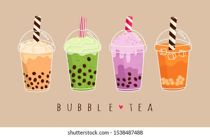 Set of various Bubble tea. Milk tea with tapioca pearls. Boba tea. Asian Taiwanese drink. Hand drawn colored trendy vector illustration. Cartoon style. Flat design. All elements are isolated