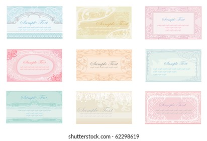 Set of various business cards