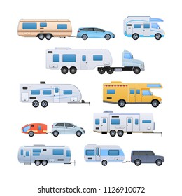 Set of various car trailers. Modern motorhomes, mobile homes on wheels, for travel around country, and for trips to nature. Vans, vehicle trailer, camping, family traveling by car vector