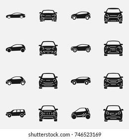 Set of various cars front and side view vector icon isolated on white background