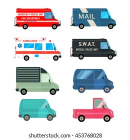 Set of the various cars icons. Fire, ambulance, police, mail bus and different cargo delivery trucks. Vehicles isolated on white background. Vector illustration.