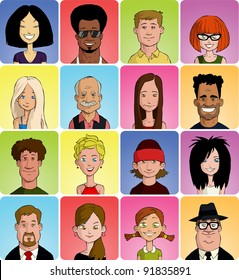 Set of various cartoon faces, vector illustration