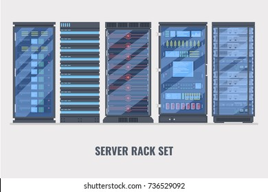 Set of various cartoon server racks, server rack room collection of lelements for design flat vector illustration