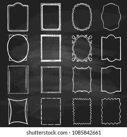 A set of various chalk frames. Simple vector vintage white frames on a black background.