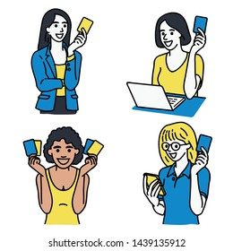 Set of various character portrait of multi-ethnic women, holding credit card in hand with smiling, happy expression. Linear, thin line art, hand drawn sketch, simple design.