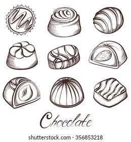 Set of various Chocolate candies. Hand drawn sketches vector illustration isolated on white background.
