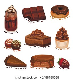 Set of various chocolate desserts. Vector illustration on a white background.