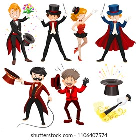 Set of various circus performers illustration