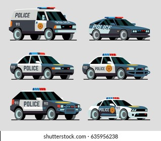 Set of various city urban police car, van, suv, pursuit. Isolated flat icons. View three-quarter. Vector Illustration.