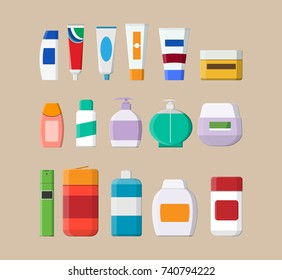 Set of various color cosmetic bottles. Cream, tooth paste, shampoo, gel, spray, tube and soap. Skin and body care, toiletres. Products for beauty and cleanser. Vector illustration in flat style