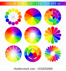 Set of various color wheels with bright pallets. Color charts of different shapes. Vector illustration for your graphic design.