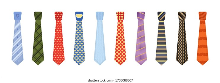 Set of various colored ties isolated on white background. Men accessories ties fashioned. Big colored set neckties different types. Collection men icons. Vector illustration, eps 10.