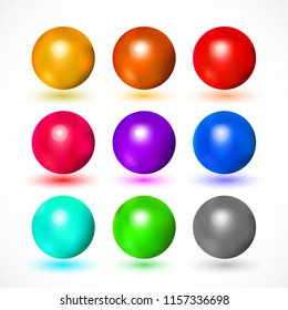 Set of various colorful and bright spheres. Vector illustration for your graphic design.