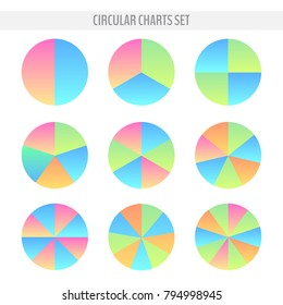 Set of various colorful circular pie charts with 2,3,4,5,6,7,8,9, 10 slices. Graphic data representation. Vector illustration for your graphic design.