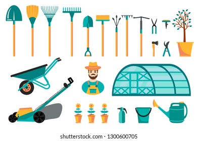 Set of various colorful gardening tools. Flat design illustration of items for gardening and farming . Vector illustration.
