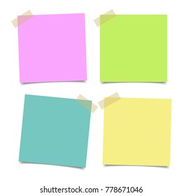 Set of various colorful papers on sticky tape, ready for your message. Vector illustration