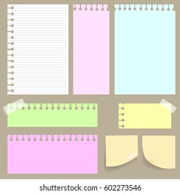 Set of various colorful papers, ready for your message. Vector illustration.