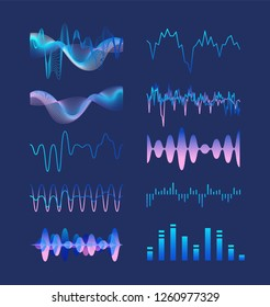 Set of various colorful sound music waves, audio or acoustic electronic signals isolated on dark background. Bundle of oscillation, vibration and fluctuation visualizations. Vector illustration.