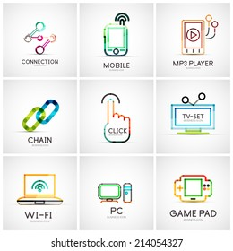 Set of various company logos, business icons. Connection chain mobile phone mp3 player click hand finger pointer tv set wifi pc laptop gamepad