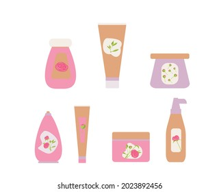 Set of various cosmetic bottles and tubes in pastel pink. Cream, gel, shampoo, liquid soap, scrub, toothpaste. Various naturel products for face and body. Flat illustration. Vector. Beauty eco product