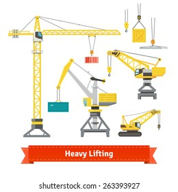 Set of various cranes doing heavy lifting. Tower and harbor lifters. Flat style vector icons.