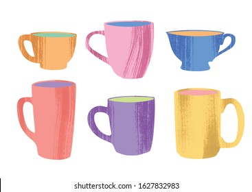 Set of various cups and mugs. Side view. Hand drawn colored trendy vector illustration in flat style with dry brush texture on white background.