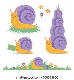 Set of various cute cartoon snails snail mail