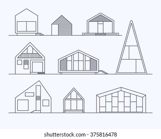 Set of various design small vector linear modern private residential houses isolated on light background. Minimalistic eco-friendly architecture reusing energy, reserving nature resources collection