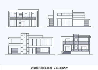 Set of various design vector linear modern private residential houses isolated on light background. Detailed graphic symbols and elements collection