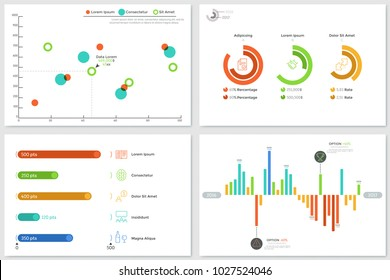 Set of various diagrams - round and bar charts, scatter plot. Concept of financial or statistical data representation and visualization. Infographic design templates. Vector illustration for report.