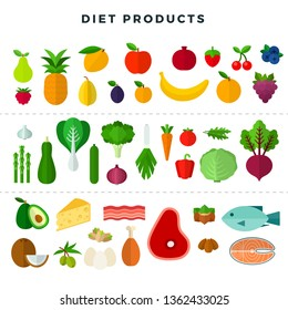 Set of various dietary food: vegetables, fruits, meat, fish, greens, cheese, nuts, berries. Collection of fresh organic food for dieting, weight loss, keeping fit, healthy eating. Vector illustration.
