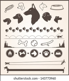 set of various dog themed design elements