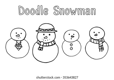 Set of various doodle snowman for your creativity