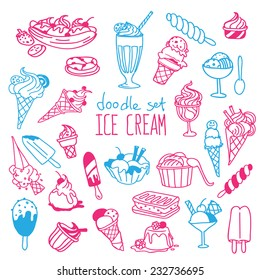Set of various doodles, hand drawn rough simple ice cream sketches. Vector illustration isolated on white background